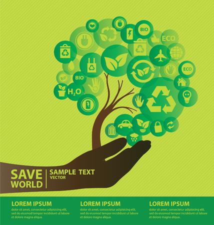 Ilustración de Go green concept  Save world vector Illustration  - Imagen libre de derechos