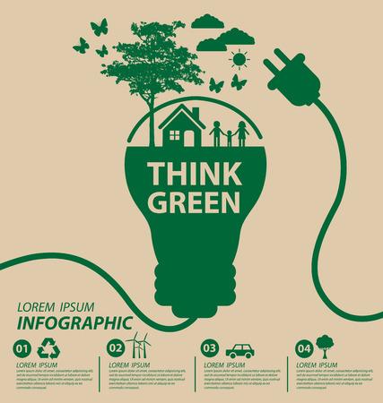 Ilustración de Ecology concept save world illustration. - Imagen libre de derechos