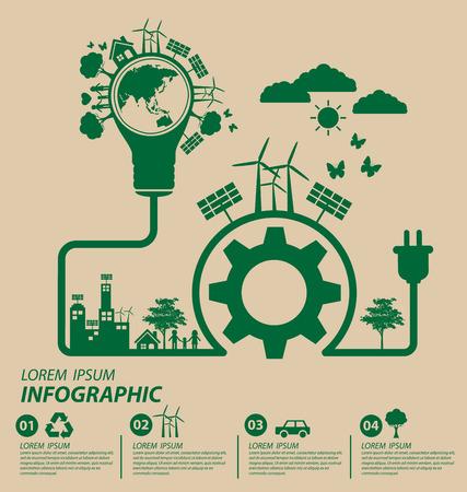 Ilustración de Ecology concept. save world vector illustration. - Imagen libre de derechos