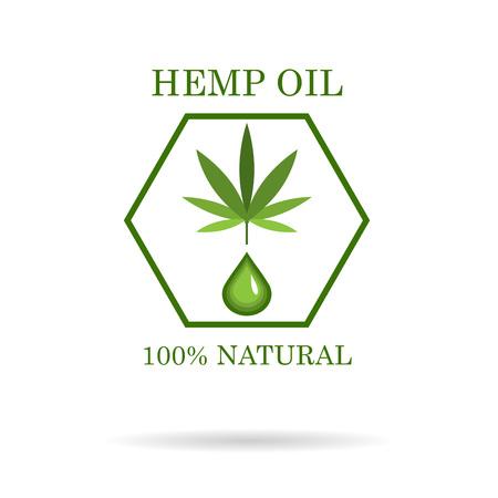Ilustración de Marijuana leaf. Medical cannabis. Hemp oil. Cannabis extract. Icon product label and icon graphic template. - Imagen libre de derechos