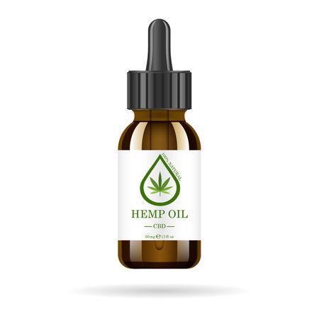 Ilustración de Realistic brown glass bottle with hemp oil. Mock up of cannabis oil extracts in jars. Medical Marijuana  on the label. - Imagen libre de derechos