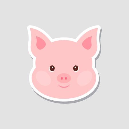 Ilustración de Christmas sticker. Portrait of pink pig. Funny cartoon face of farm animal. Vector illustration, Happy New Year - Imagen libre de derechos