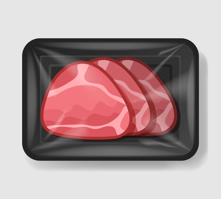 Ilustración de Baked glazed ham in plastic tray container with cellophane cover. Mockup template for your design. Plastic food container. Vector illustration. - Imagen libre de derechos