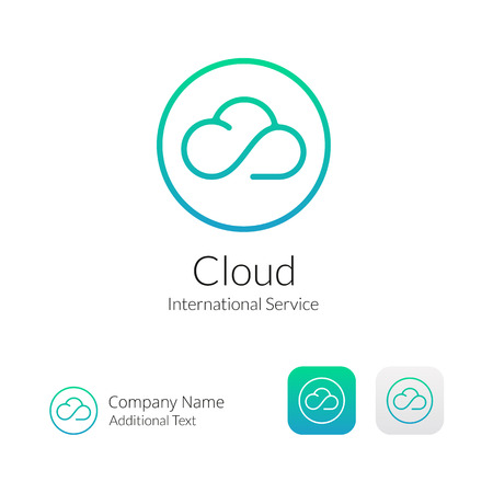 Illustration pour Cloud Stylish Icon and Button Concept Set - image libre de droit