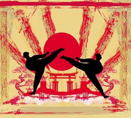 karate occupations - Grunge background