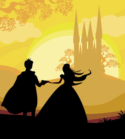 Illustration for Magic castle and princess with prince - Royalty Free Image