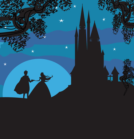 Illustration for castle and princess with prince - Royalty Free Image