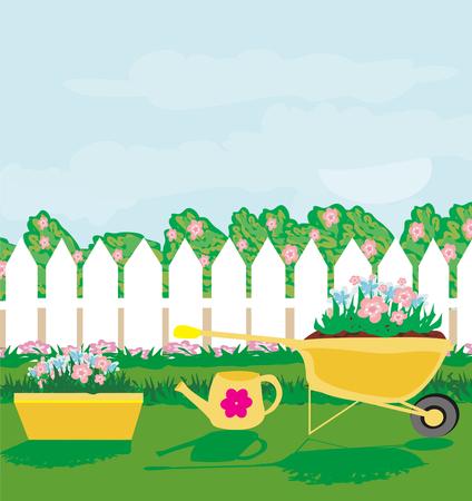 Illustration pour Planting flowers in the garden. - image libre de droit
