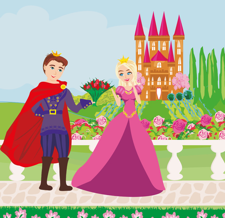 Illustration for The princess and the prince in a beautiful garden - Royalty Free Image