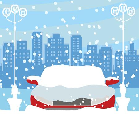 Illustration pour Car Stuck In The Snow - image libre de droit