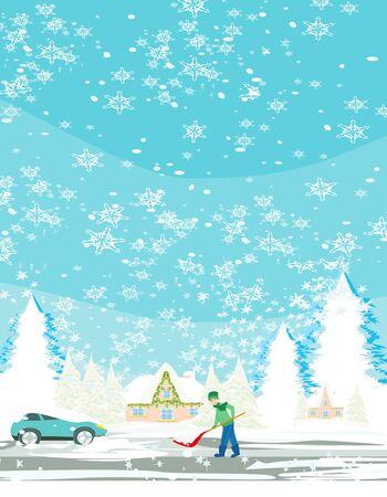 Illustration pour Man shoveling snow on winter landscape - image libre de droit