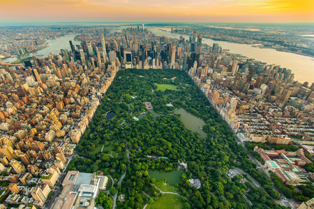 Photo pour New York Central park aerial view in summer day - image libre de droit