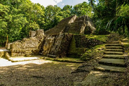 Photo for Lamanai archaeological reserve mayan Mast Temple in Belize jungle - Royalty Free Image