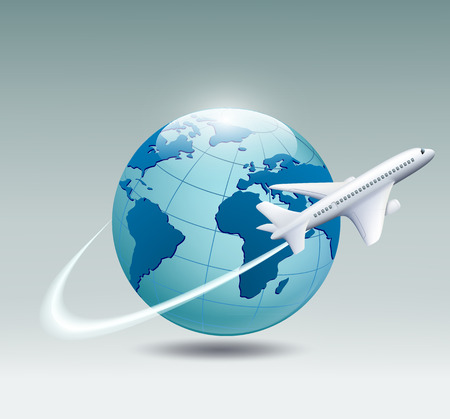 Illustration pour Airplane circling the globe and flying out - image libre de droit