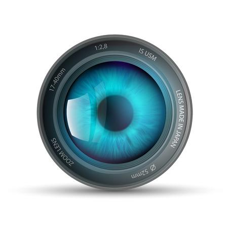 Illustration pour eye inside the camera lens - image libre de droit