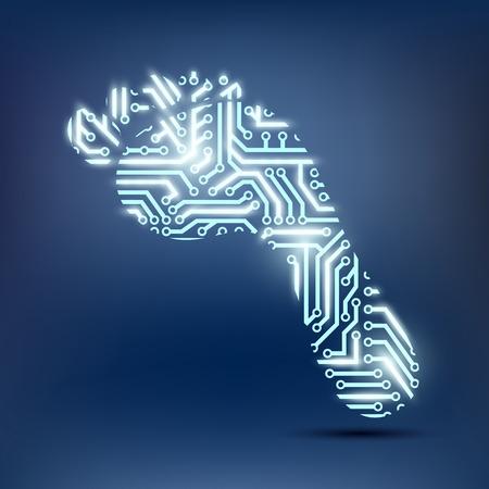 Ilustración de footprint as a chip - Imagen libre de derechos