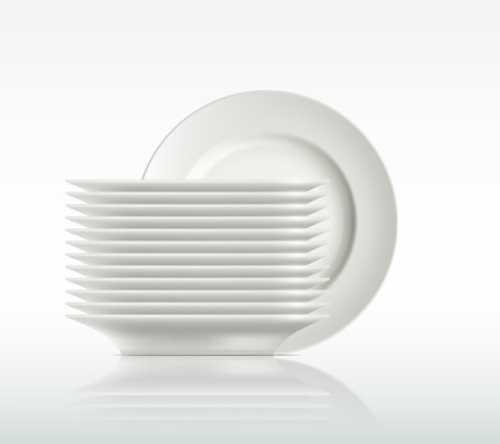 Illustration for porcelain plates on a white background - Royalty Free Image