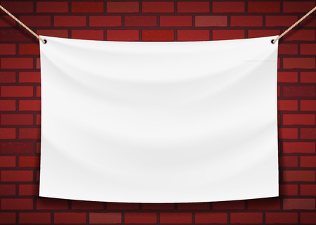 Illustration pour white banner hanging on a brick wall background - image libre de droit