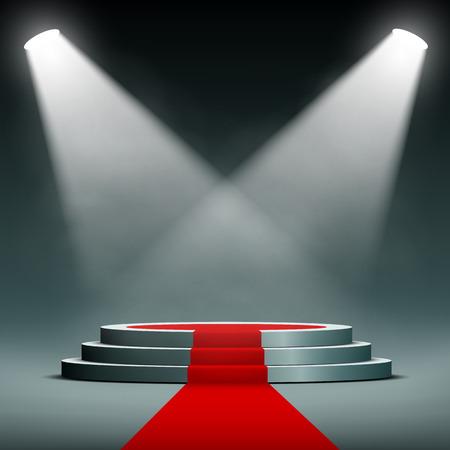 Illustration pour spotlights illuminate the pedestal with red carpet - image libre de droit