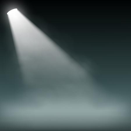 Illustration pour Spotlight illuminates smoke on a dark background - image libre de droit