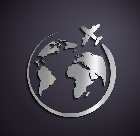 Illustrazione per Flat metallic icon of the aircraft and the planet earth. Vector image. - Immagini Royalty Free