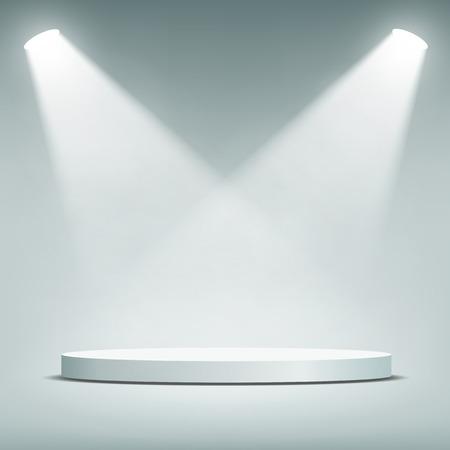 Illustration pour Round podium illuminated by spotlights. Vector Image. - image libre de droit