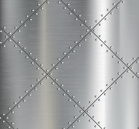 Illustration pour Background of the metal plates with riveted. Vector image. - image libre de droit