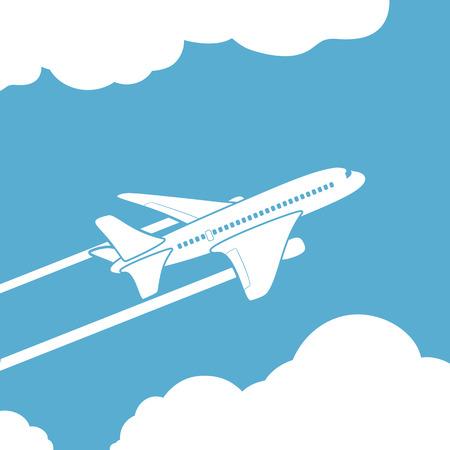 Illustration pour Plane silhouette against the sky with clouds. Vector image. - image libre de droit