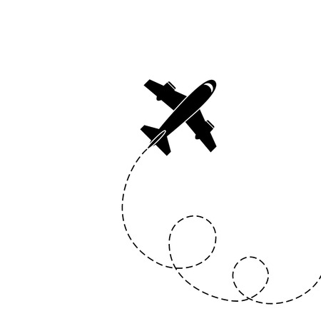 Illustration pour Silhouette of aircraft isolated on white background. Vector Image. - image libre de droit
