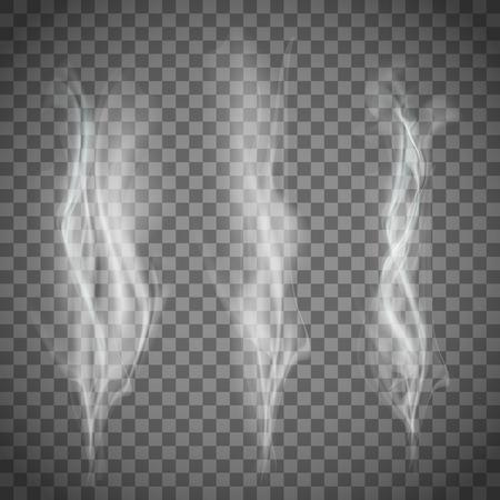 Ilustración de Set of transparent white smoke. Vector image. - Imagen libre de derechos
