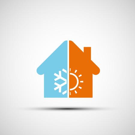 Ilustración de Logo home with climate control. Vector image. - Imagen libre de derechos