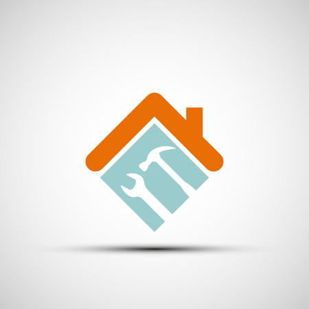 Illustration pour Silhouette of a house with a wrench and a hammer. Vector image. - image libre de droit
