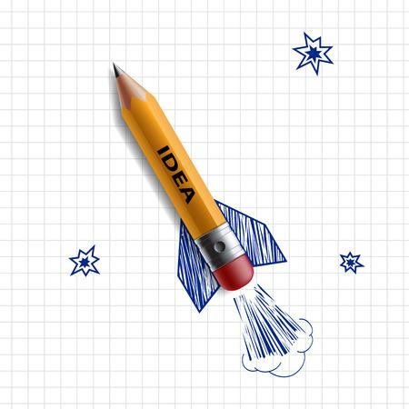 Illustration pour Pencil in the form of a rocket on a background painted sky. Vector Image. - image libre de droit