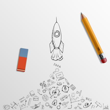 Illustration pour Rocket takes off. Doodle image. Pencil and eraser. Stock Vector illustration. - image libre de droit