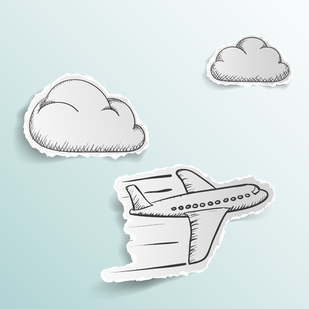 Illustration pour Airplane is flying in the clouds. Doodle image. Scrapbooking. Stock Vector illustration. - image libre de droit