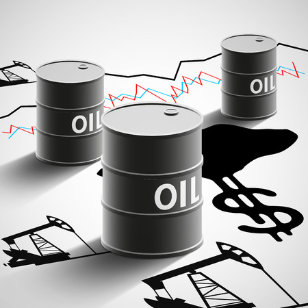 Ilustración de Barrels of oil, graphics, and oil pumps. Stock Vector illustration. - Imagen libre de derechos