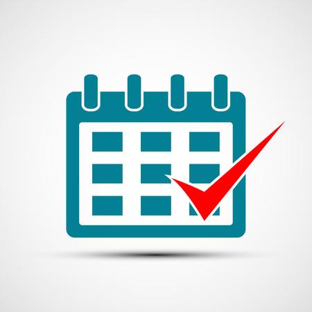 Illustration pour Logo calendar with a check mark. Vector image. Flat design. Stock vector illustration - image libre de droit
