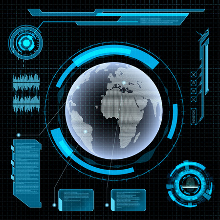 Illustration pour Futuristic user interface HUD. Earth on Abstract background. - image libre de droit