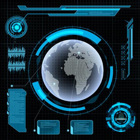 Ilustración de Futuristic user interface HUD. Earth on Abstract background. - Imagen libre de derechos