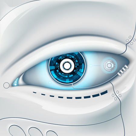 Ilustración de Eye of the robot. Futuristic HUD interface - Imagen libre de derechos