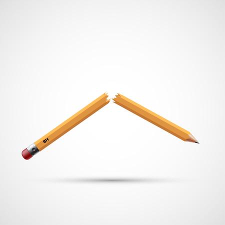Illustration pour Icon broken pencil. Stress and the failure. Stock vector illustration. - image libre de droit