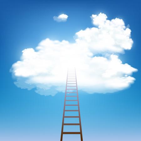 Illustration pour Stairway rises to the clouds. Stock vector illustration. - image libre de droit