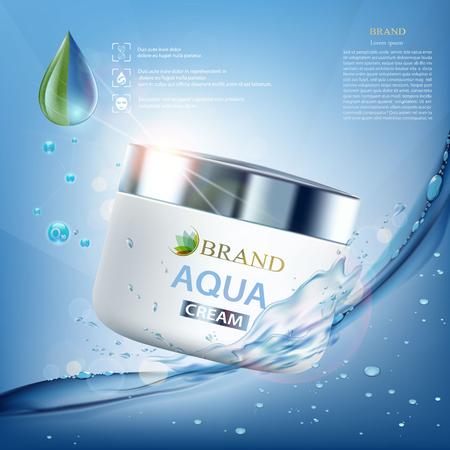 Ilustración de Cosmetic cream with vitamins, aqua and coenzyme. Splashes of water with drops. Packing brand design. Stock vector illustration. - Imagen libre de derechos