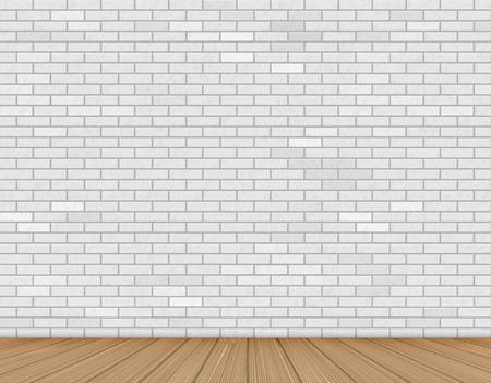 Ilustración de Wall of white brick and wooden floor. Background for advertising and presentation indoor. Stock vector illustration - Imagen libre de derechos