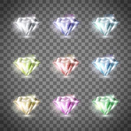 Ilustración de Set of precious multi-colored diamonds. Isolated on a transparent background. Stock vector illustration. - Imagen libre de derechos