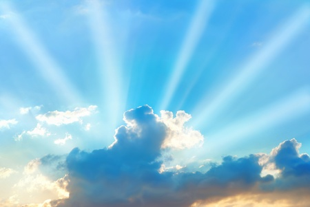 Photo for Beautiful blue sky with sunbeams and clouds - Royalty Free Image