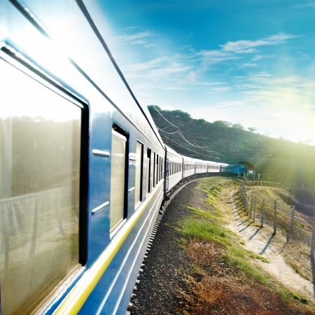 Motion train and blue wagon. Urban transportation