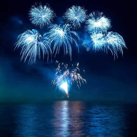 Photo for Colorful fireworks on the black sky background - Royalty Free Image