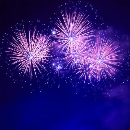 Foto de Blue colorful fireworks on the black sky background - Imagen libre de derechos