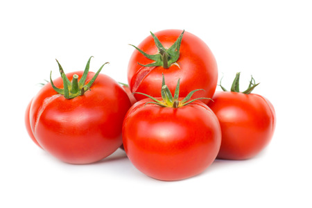 Foto de Group of red fresh ripe tomatoes isolated on white background - Imagen libre de derechos